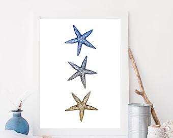 Starfish Print, Star Fish Art, Digital Print, Starfish Wall Art, Beach Decor, Nursery Print, Wall Decor, Instant Download, Printable Art
