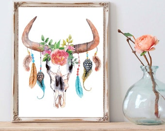 Floral Bull Skull, Skull Print, Boho Nurery, Shabby Chic Floral, Boho Decor, Skull Nursery, Tribal Nursery, Floral Watercolor Skull Print