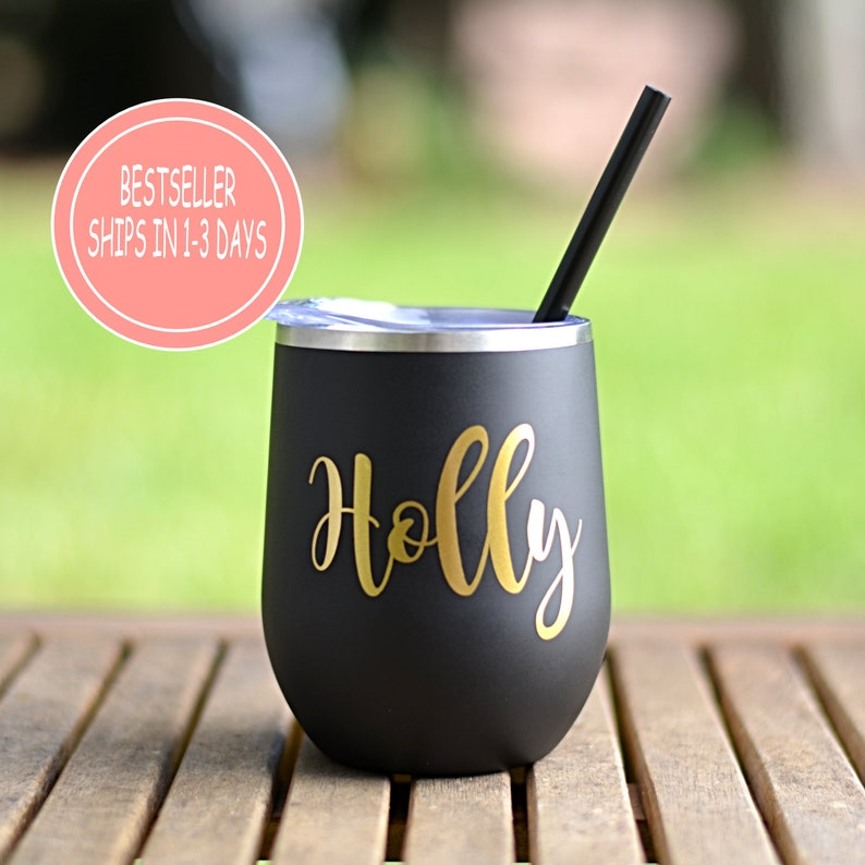 277f15dafc8 Personalized 12 oz. Wine Tumbler with Lid & Straw , Wine Tumbler, Insulated  Wine Tumbler, Bachelorette Party, Bridesmaid Gift