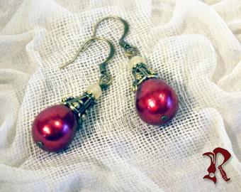Deep Red Pearl Drop Earrings