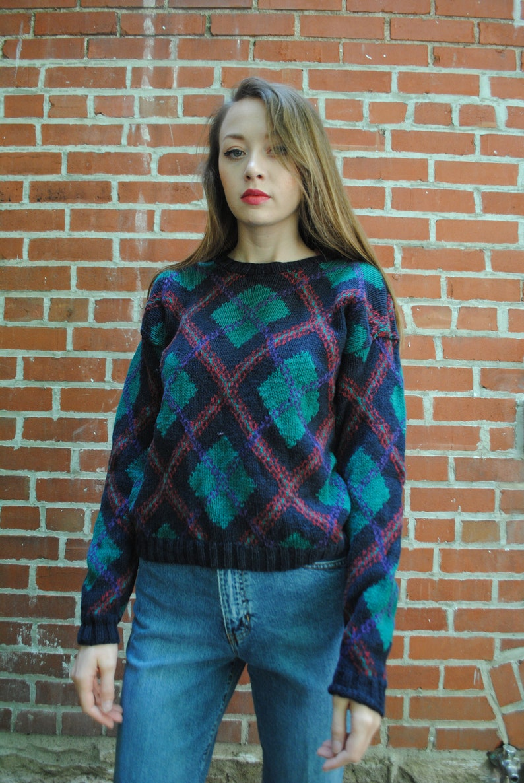 0c91b22ab2d Vintage Sweater 90 s Clothing Talbots Argyle Vintage