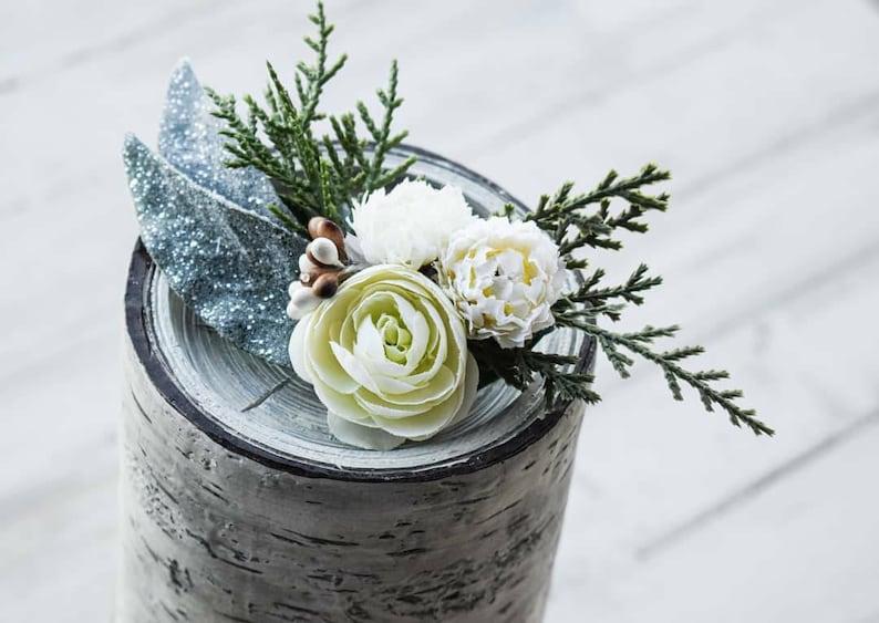 Winter Hair Floral wedding hair clip white flower hair piece
