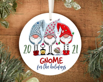 Personalized Gnome Christmas Ornament Family of Three | Christmas Elves | Gnome for the Holidays | Durable Metal | Gloss White