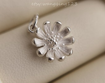 solid 925 sterling silver flower charm pendant 12x12mm