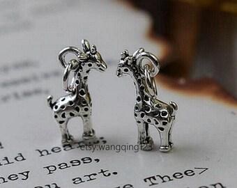 2 pcs sterling silver giraffe charm