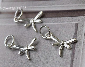 3 pcs sterling silver dragonfly charm pendant