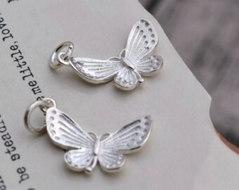 2 or 10 sterling silver butterfly charm pendant