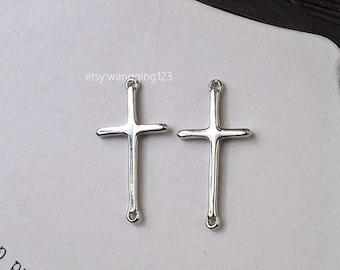 silver 2 hole cross link charm 50pcs sideways cross link charm sterling silver connector silver cross sterling cross pendant