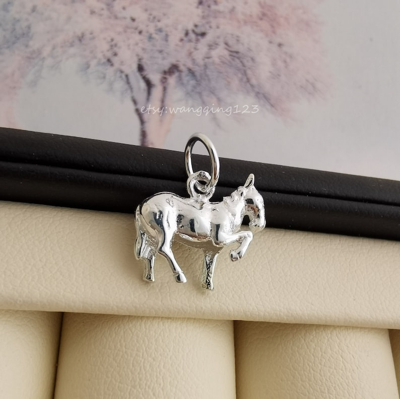 solid sterling silver horse charm pendant 13x12mm
