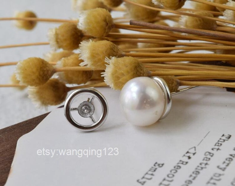 sterling silver round bezel setting earring stud post with cup and peg ear posts studs earring finding findings 9x9mm