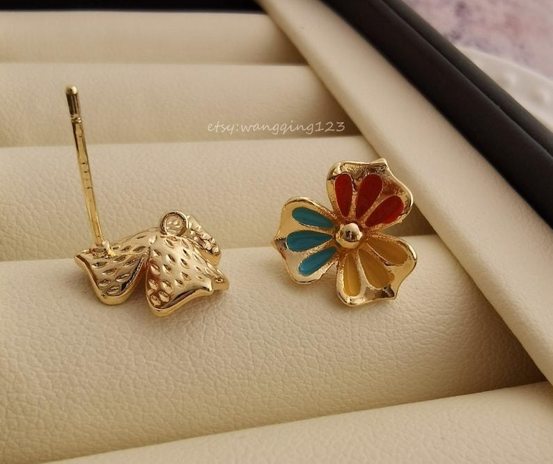 gold flower stud earring with closed loop 925 sterling silver post earrings finding 11mm