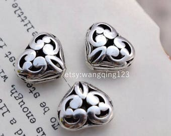 925 sterling silver hollow heart spacer beads charms heart  bead pendants , JT1