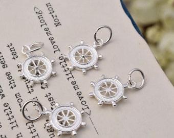 4 pcs sterling silver ship wheel charm captains wheel pendant  charms ,  QQ1