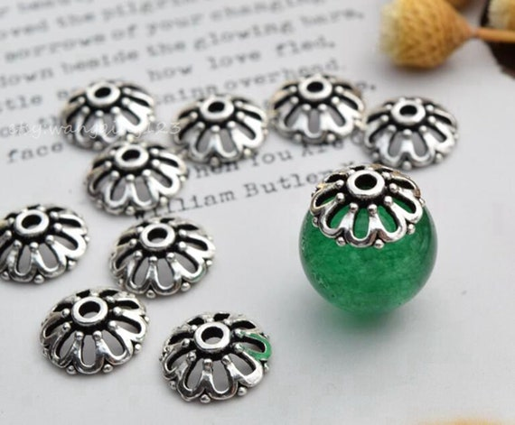 861055a3453 10 of 925 sterling silver 9mm flower bead cap beads caps