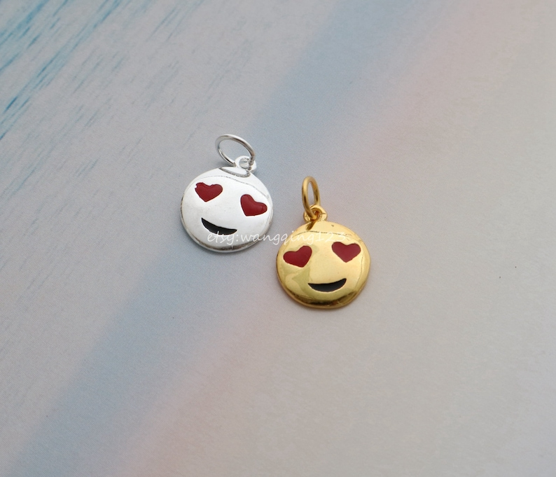 sterling silver smile round disc charm pendant in gold or silver 9*9mm