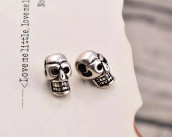 2 pcs sterling silver skull spacer beads charm pendant