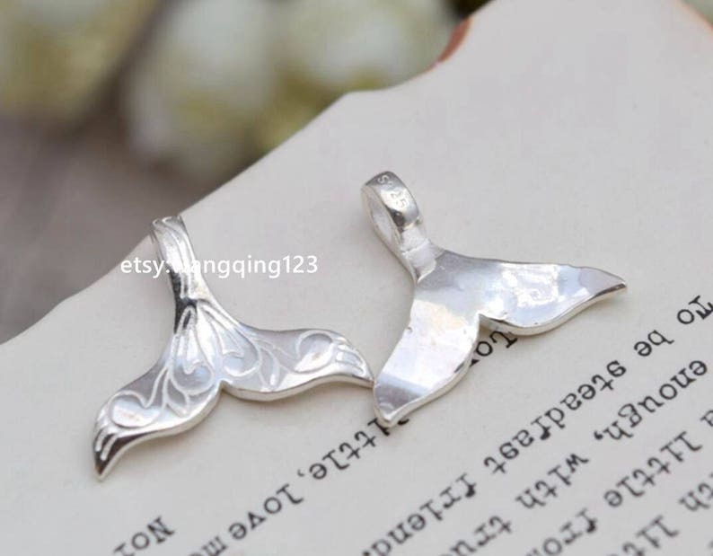 solid 925 sterling silver whale tail mermaid tail charm pendant 21*17mm