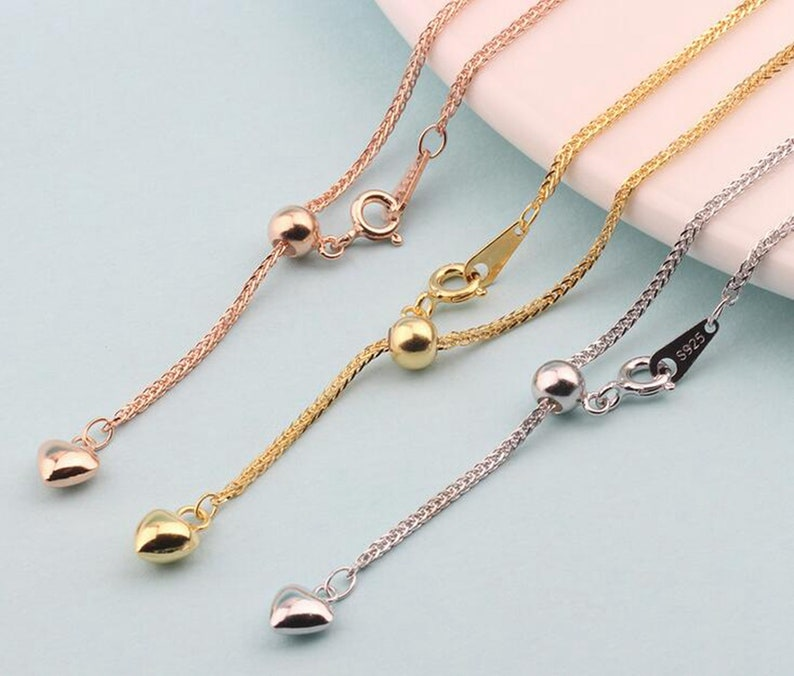 solid 925 sterling silver adjustable 60cm chain 24 inch finished chain necklace with rubber stopper  in silver gold rose gold