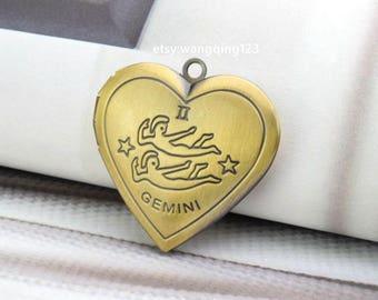 locket pendant gemini pendant zodiac pendant photo picture heart locket brass tone 27mm x 25mm