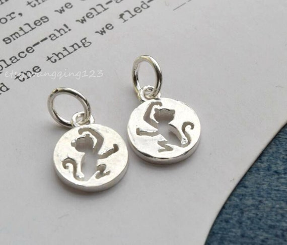 solid sterling silver fish charm pendant 12x9mm