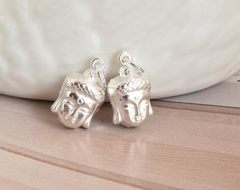 2 pcs sterling silver buddha charm pendant