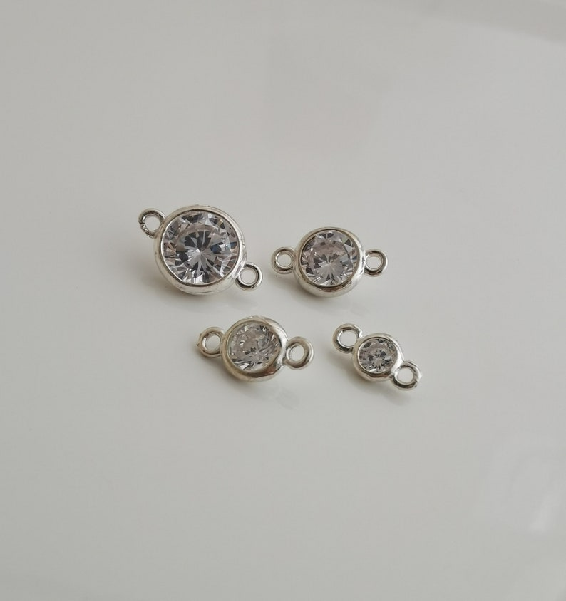 solid 925 sterling silver clear cubic zirconia link connector charm pendant 4mm5mm6mm7mm