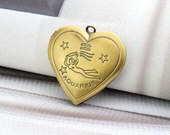 locket pendant aquarius pendant zodiac pendant photo picture heart locket brass tone 27mm x 25mm