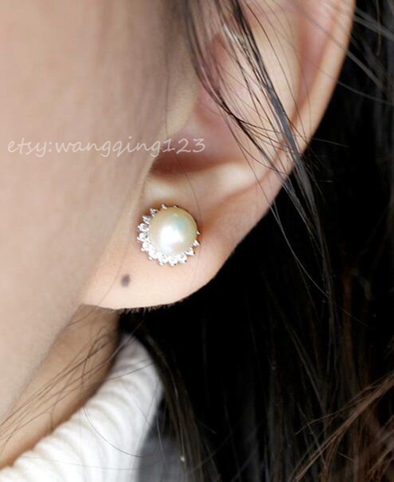 solid 925 sterling silver cubic zircona v shaped cricle earring stud post with cup and peg for half drilled beads blank earrings finding