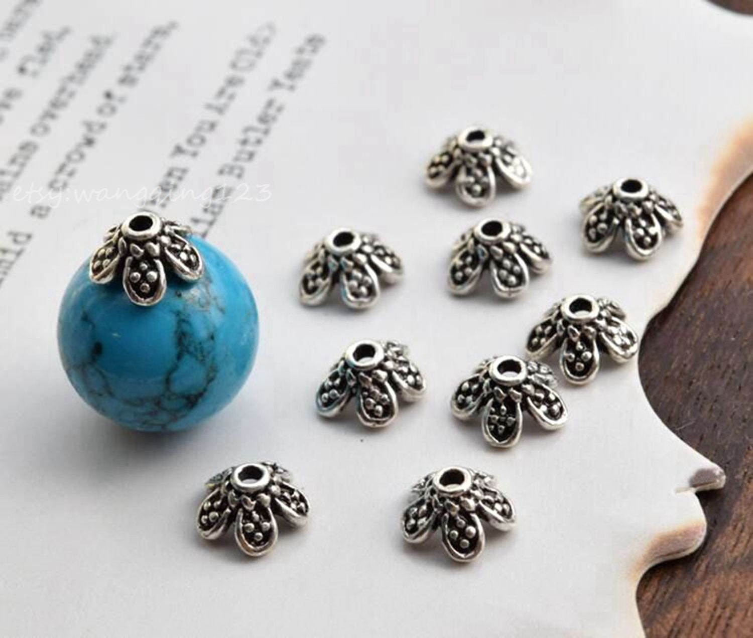 6fc4617d45a 10 of 925 sterling silver 7mm flower bead cap beads caps