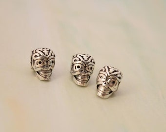 3 pcs skull spacer beads charms pendants in oxidized sterling silver, JT1