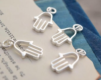 4 pcs hand charms pendants charm pendant in sterling silver, LH1