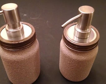 Mason jars textured paint sandstone Mother's Day gift soap dispenser brushed stainless steel