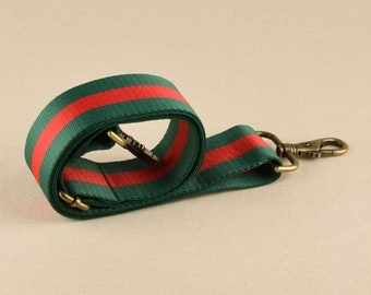 """Green and Red Crossbody Striped Webbing Strap 2"""" wide Adjustable Bag Strap"""