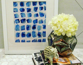 Blue Abstract Watercolor Painting - Framed