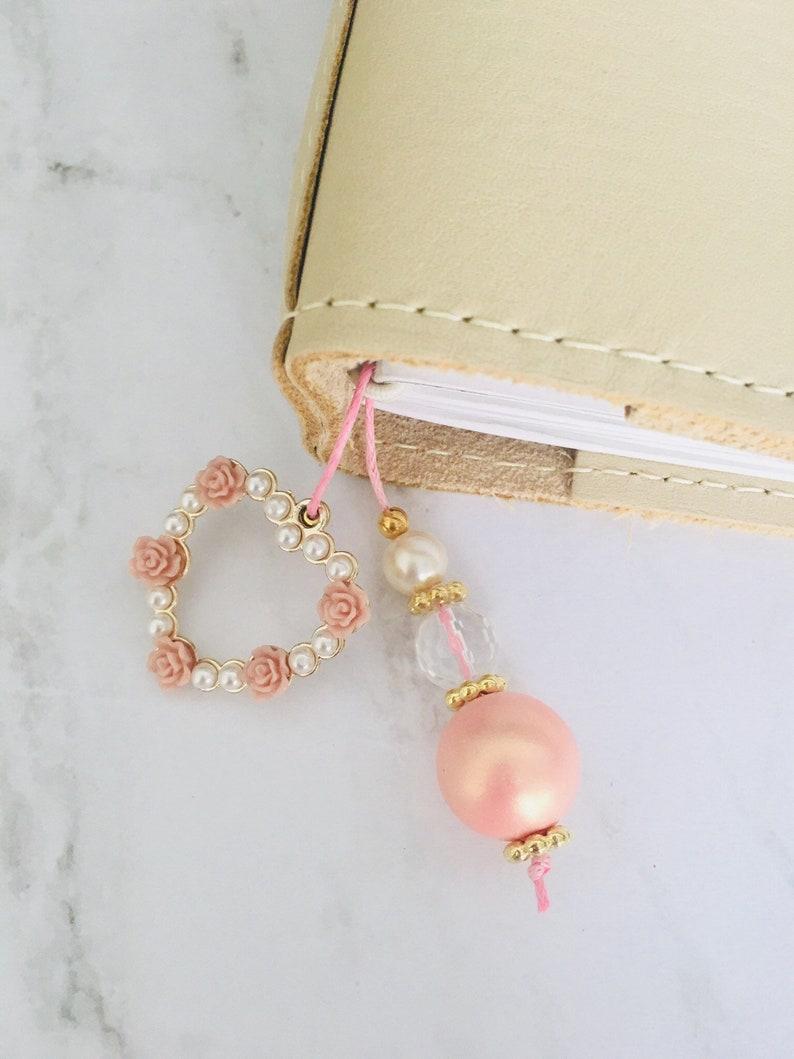 Pearl /& Flower Heart Planner Bookmark