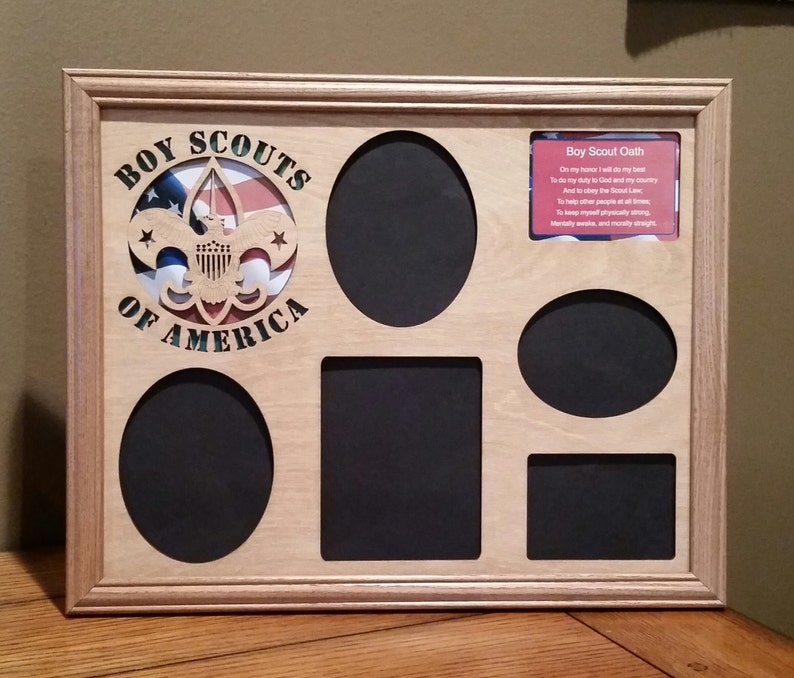 11x14 Boy Scouts of America Laser Engraved Picture Frame with 5 Photo Holes Collage Flag Background and Boy Scout Oath
