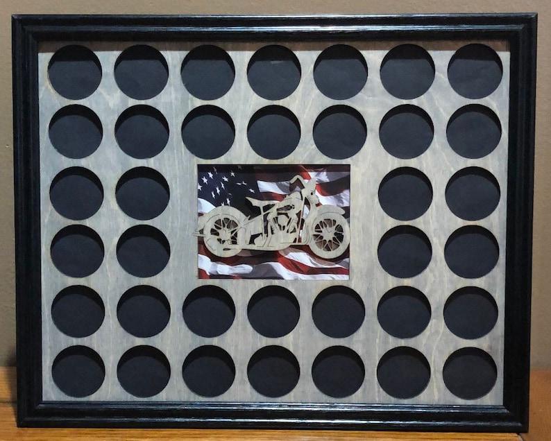 Poker Chip Frame Display Insert and Frame Fits 36 Harley-Davidson or Casino chips 11 X 14  grey birch chip holder and frame