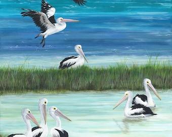 "Open Edition Print | ""Pelicans""  | Fine art print from my original artwork"
