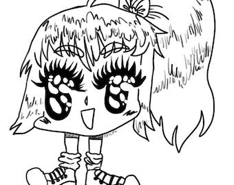 Stubby Anime Girl Sticker