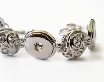 Silver Snap Bracelet, Snap Button Bracelet, 3 snap bracelet, 18-20mm