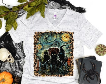 Sanderson Sisters Witch Picasso Leopard Shirt, Halloween Tee Shirt, Hocus Pocus T Shirt, Cute Autumn Top, Fly Broom Witches, Fall Gift Ideas