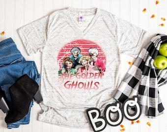 Golden Girls Halloween Women's V Neck Shirt,  Golden Ghouls Halloween Funny Tees, Mom Halloween Shirts, Cute Fall Clothing, 90s Sitcom Shirt