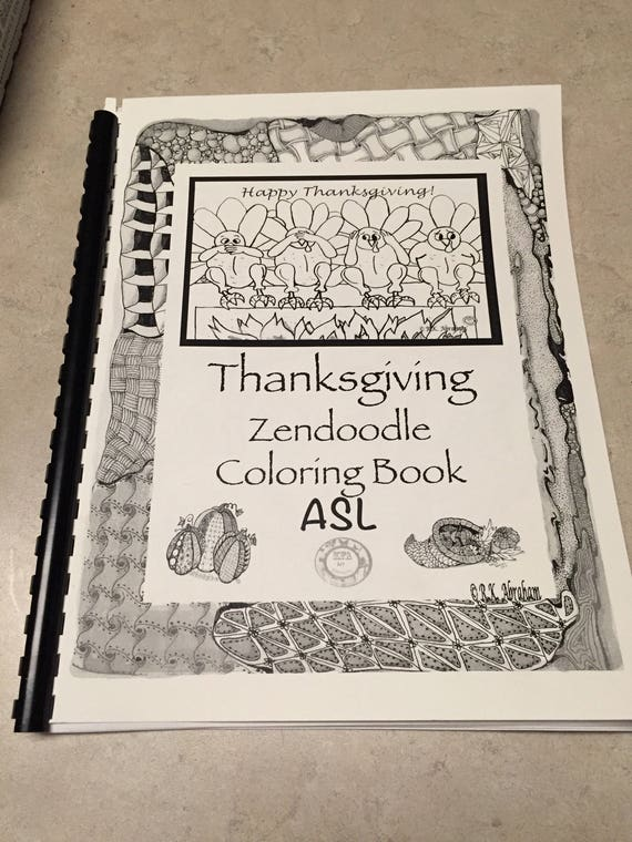 Thanksgiving Zendoodle Coloring Book Etsy
