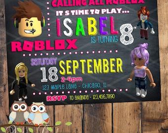 Roblox Invitacion De Cumpleanos Con La Foto Y Su Personaje Etsy