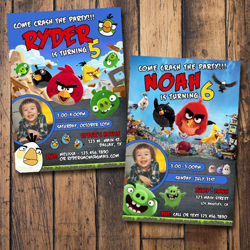 Angry Birds Birthday Invitation With Photo Angry Birds Invitation With Photo