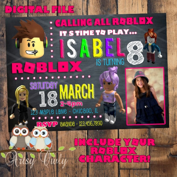 Roblox Names That Aren T Taken: Roblox Birthday Invitation With Photo And YOUR Roblox