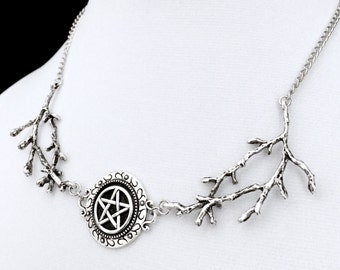 Pentacle Necklace, Witchy Necklace, Gothic Jewelry, Branch Necklace, Pagan Jewelry, Wiccan Jewelry, Silver Pentagram, Occult Necklace