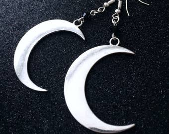 Gothic Moon Earrings, Crescent Moon Earrings, Silver Moon Earrings, Witchy Jewelry, Gothic Jewelry, Moon Jewelry, Gothic Moon Jewelry