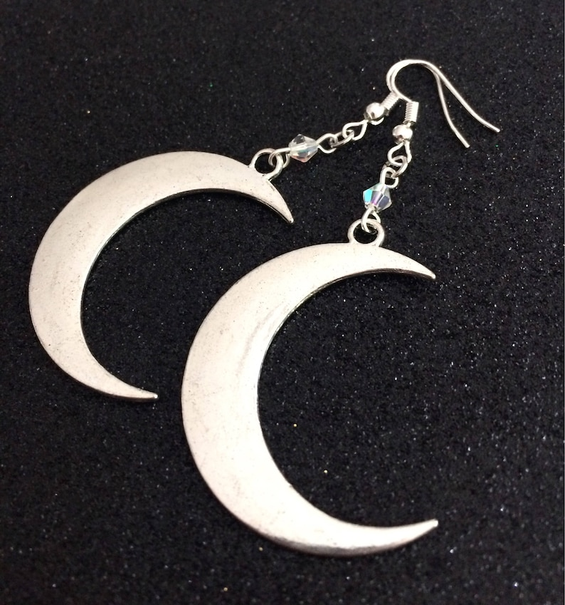 Gothic Jewelry Gothic Moon Earrings Witchy Jewelry Gothic Moon Jewelry Crescent Moon Earrings Silver Moon Earrings Moon Jewelry