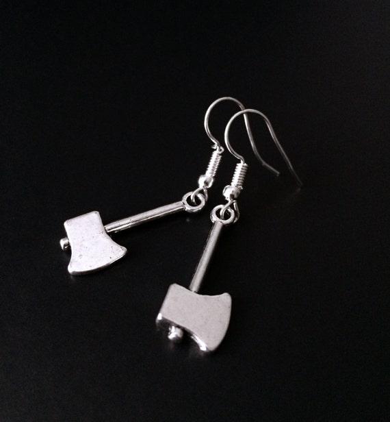 Halloween Earrings Silver Axe Hatchet Earrings Creepy Cute Horror Jewelry Axe Earrings Horror Movie Slasher Film